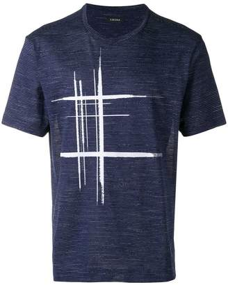 Ermenegildo Zegna abstract tartan print T-shirt