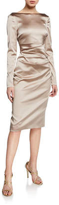 Talbot Runhof Long-Sleeve Ruched Satin Cocktail Dress