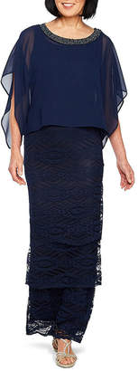 MAYA BROOKE Maya Brooke Short Sleeve Embellished Cape Evening Gown