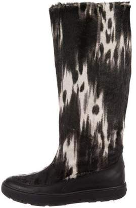 Moncler Ponyhair Knee-High Boots