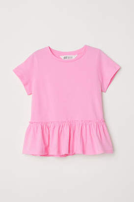 H&M Short-sleeved Flounced Top - Pink