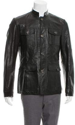 Gucci Leather Button-Up Officer Jacket