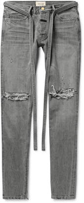 Fear Of God Slim-Fit Tapered Belted Distressed Selvedge Denim Jeans - Men - Gray