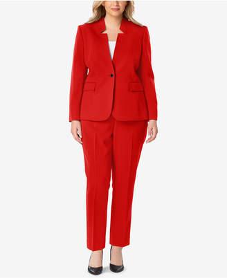 Tahari ASL Plus Size Star-Collar One-Button Pantsuit
