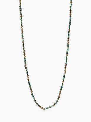 John Varvatos Beaded Turquoise & Brass Necklace