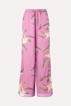 PatBO Printed Crepe De Chine Wide-leg Pants - Violet