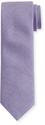 Brioni Heathered Herringbone Silk Tie
