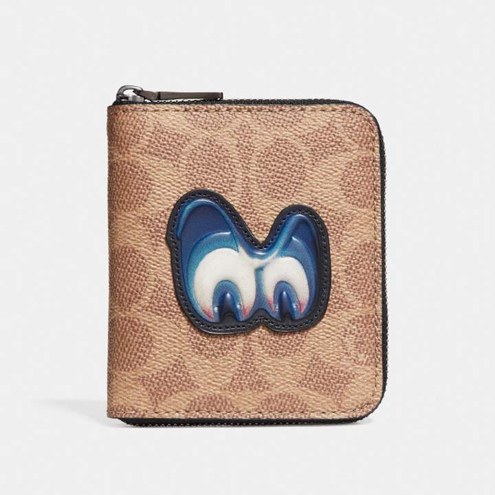 Coach New YorkCoach Disney X Small Zip Around Wallet In Signature With Patch - KHAKI - STYLE