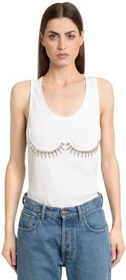Maison Margiela Crystals Embellished Rib Jersey Tank Top