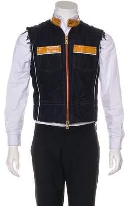 DSQUARED2 Leather-Trimmed Distressing Denim Vest