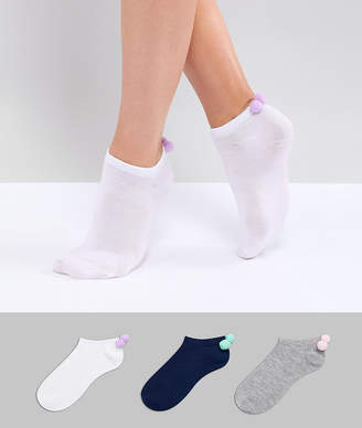 Fruit Cake Fruitcake 3 Pack Ankle Socks With Pom Pom Detail