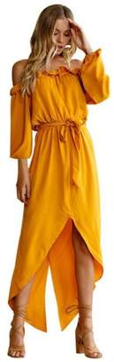 Willsa Womens Summer Off Shoulder Long Dress Party Beach Casual Dress (L, )