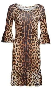 Moschino Women's Ruffle Sleeve Leopard Print Dress - Size 36 (2)