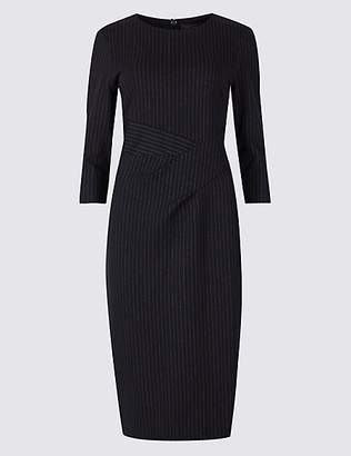 M&S Collection Striped 3/4 Sleeve Bodycon Dress