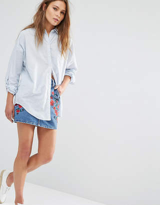 Glamorous Petite Denim A Line Skirt With Floral Embroidery