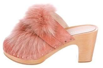 Loeffler Randall Phillips Fox Fur-Trimmed Clogs