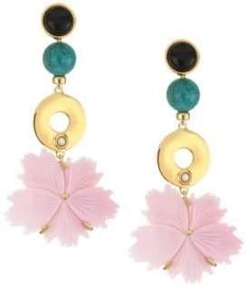 Lizzie Fortunato Sardinia 18K Goldplated 3mm Round Pearl & Multi-Stone Drop Earrings