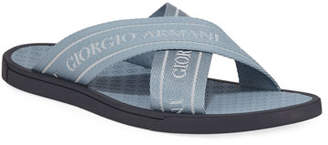 Giorgio Armani Men's Logo Jacquard Thong Sandals, Blue