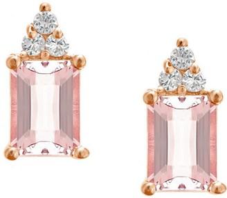 Premier Emerald-Cut Morganite & Diamond Earrings, 14K