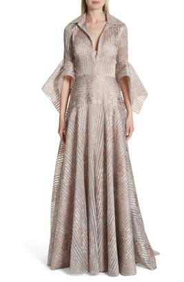 Badgley Mischka Platinum Metallic Texture Stripe Organza Gown