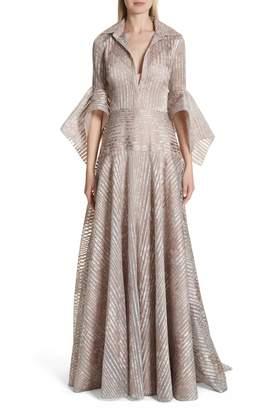 Badgley Mischka Metallic Texture Stripe Organza Gown