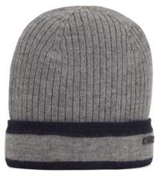 BOSS Ribbed beanie hat in wool with contrast trim