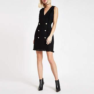 River Island Womens Black boucle fringe trim mini dress