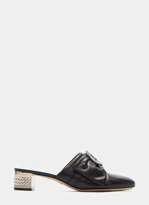 Gucci Crystal Bow Mid-Heel Slippers in Black