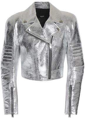 Versace Metallic Cracked-Leather Biker Jacket