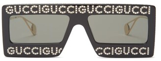 Gucci Hollywood Forever Embellished Sunglasses - Womens - Black