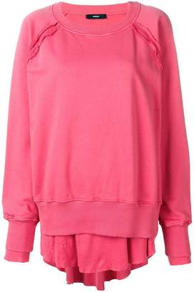 Diesel oversized layered hem sweatshirt