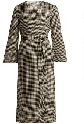 ONCE MILANO Checked linen robe