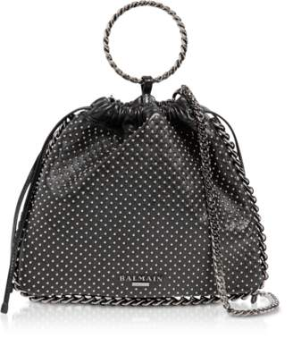 Balmain Black Studded Leather B-Link Bracelet Backpack