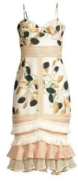 Fruta Printed Fitted Midi Dress