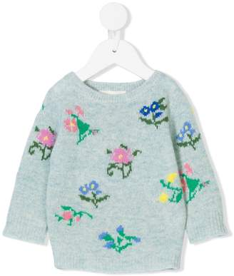 Simple floral intarsia jumper