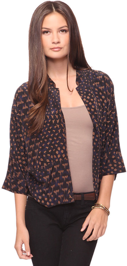 Love 21 Mix Prints Open Cardigan