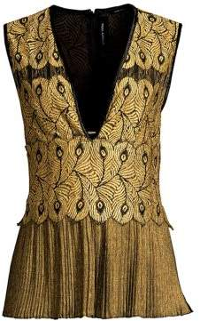 Yigal Azrouel Golden Lace Pleat Top