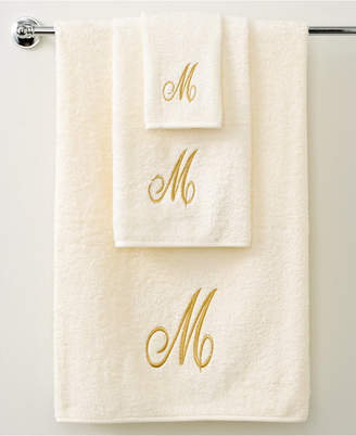 "Avanti Bath Towels, Monogram Initial Script Ivory and Gold 16"" x 30"" Hand Towel Bedding"