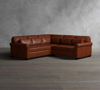 Pottery Barn York Roll Arm Deep Seat Leather 3-Piece L-Shaped Sectional with Corner