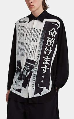 Yohji Yamamoto Men's Oversized Newspaper-Print Voile Shirt - White