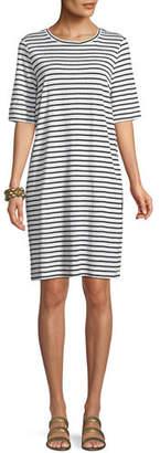 Eileen Fisher Seaside Striped Half-Sleeve Organic Linen Dress, Petite