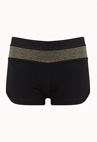Forever 21 Metallic Skinny Yoga Shorts
