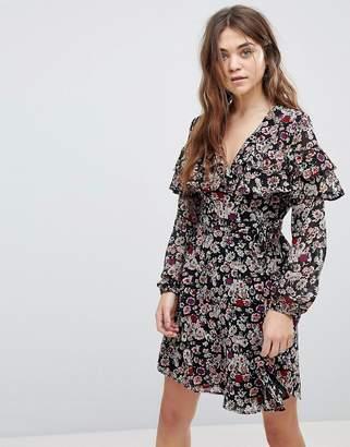 New Look Floral Print Tier Sleeve Wrap Dress