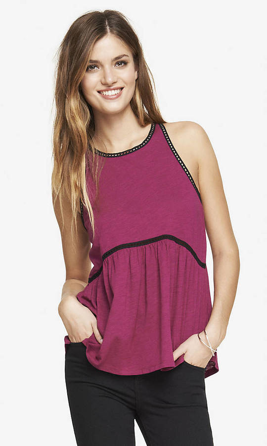 Express Railroad Trim Slub Babydoll Tank