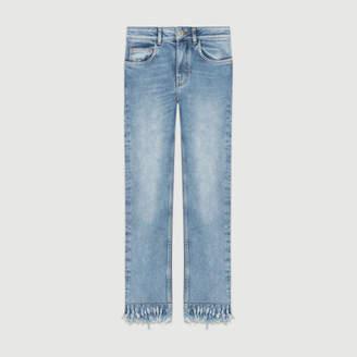 Maje Straight cut jeans with fringed hem