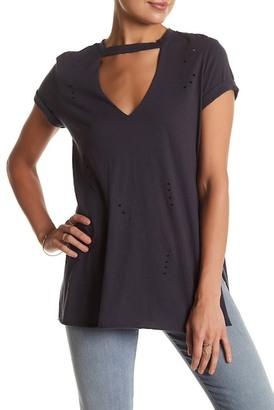Lush Gigi Choker Short Sleeve Ripped Tee $32 thestylecure.com