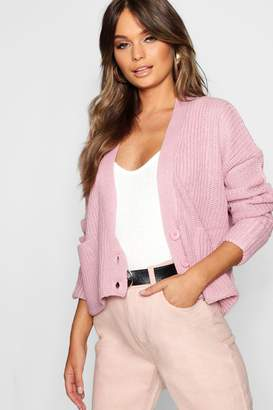 boohoo Cropped Knitted Turn Up Cuff Cardigan