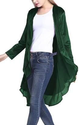 Urban CoCo Women's Long Sleeve Velvet Cardigan Coat with Asymmetric Chiffon Hem (XL, )