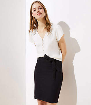 LOFT Petite Tie Waist Pull On Pencil Skirt