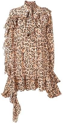 Rokh leopard print ruffled dress